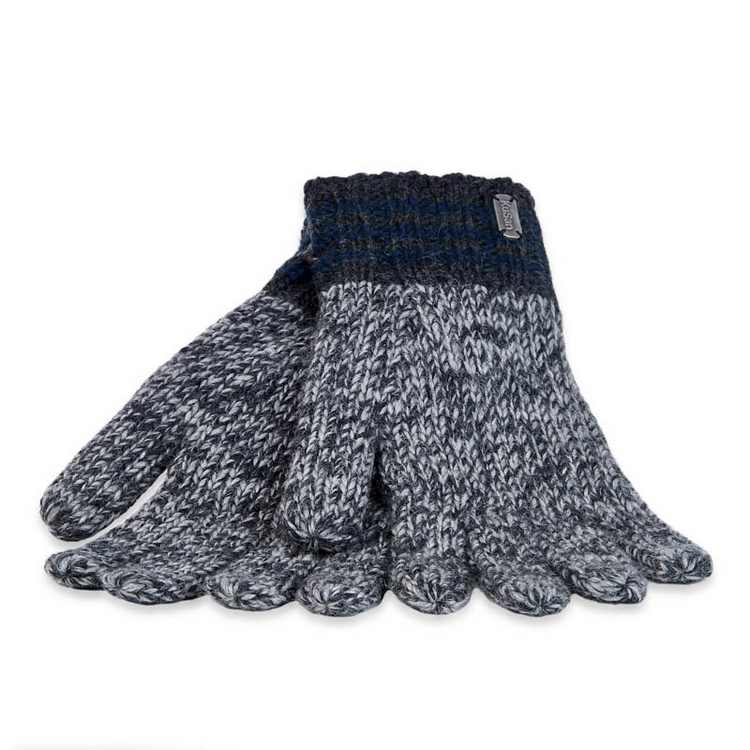 Kusan Knit wool gloves Grey-Blue
