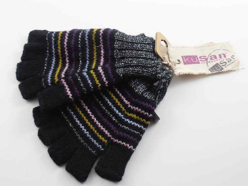 Kusan London Gants de laine Fingerless