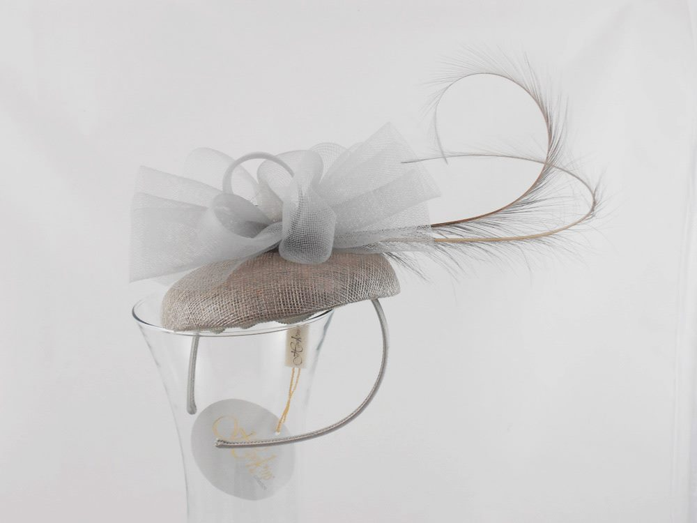 Wedding Fascinator hairband with tulle and fea