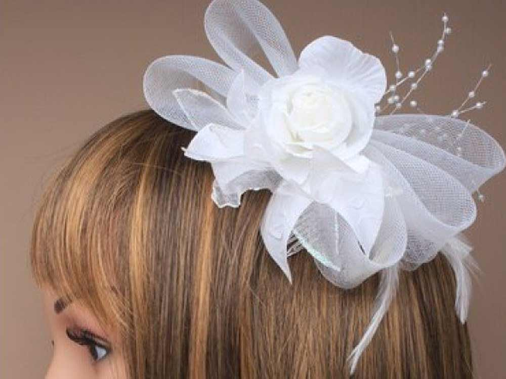 Acconciatura decorazione da sposa Bridal Bianc