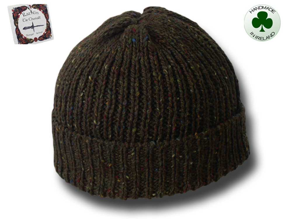 Beanie natural Irish Donegal yarn hat 08