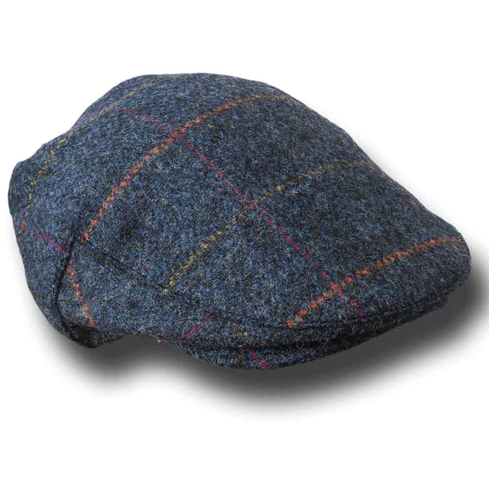 John Hanly Irish Herringbone tweed Flat cap Blue marine