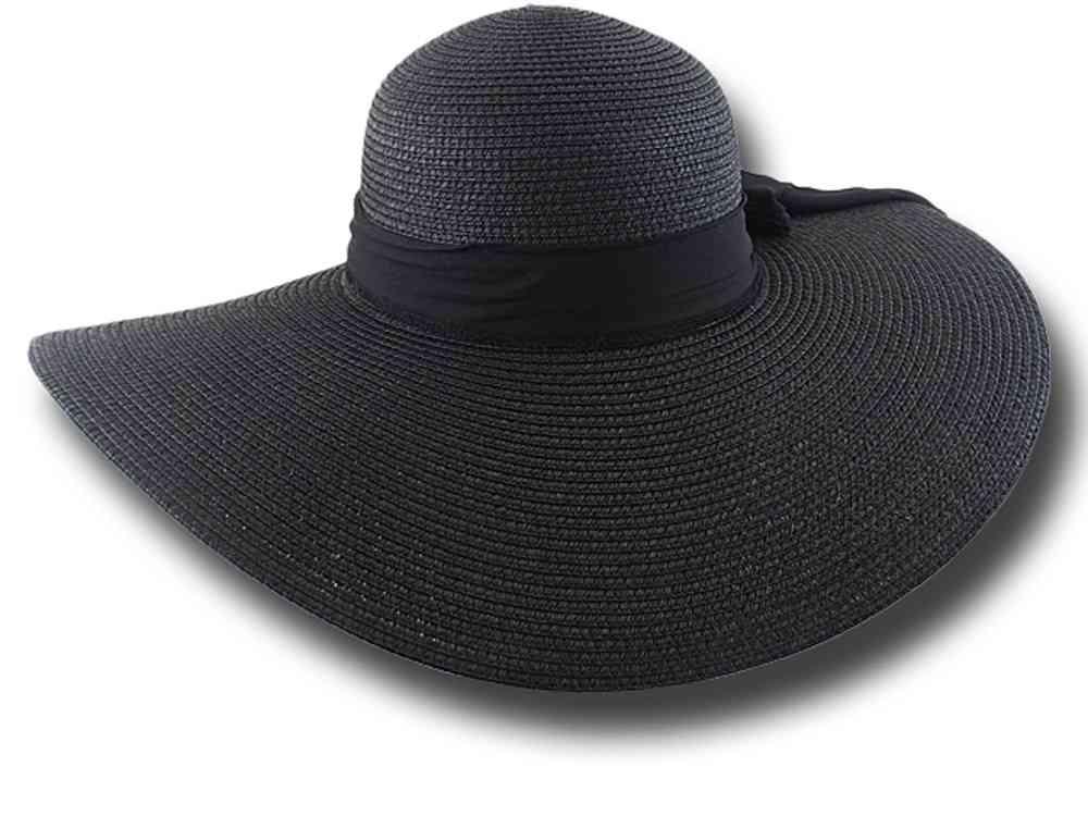 Cappello donna estivo tesa larga Pamela Nero f0c54af2f5fc