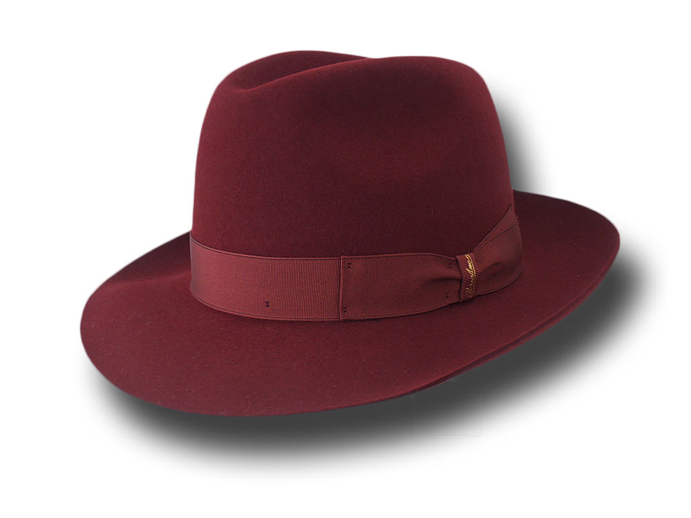 Borsalino Fedora Marengo Hat brim 6,5 cm unlined Dark red
