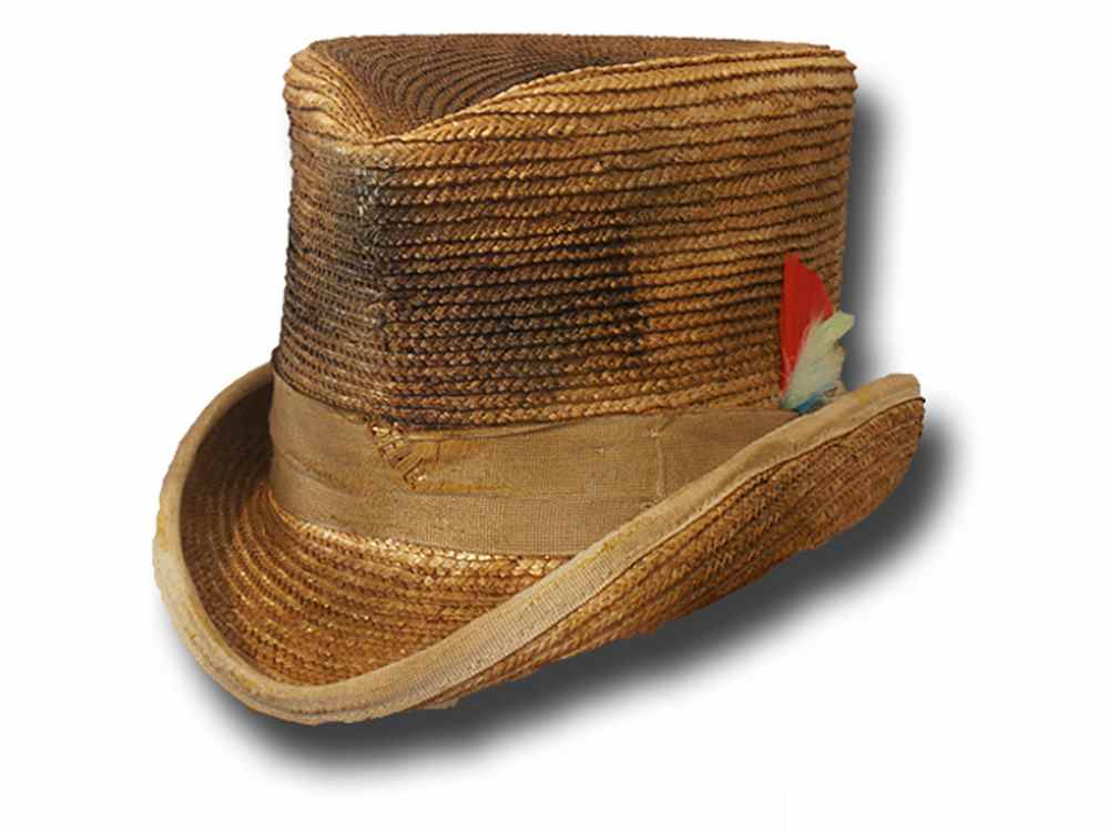 Cappello a cilindro Frontier paglia Aged Western Top Hat