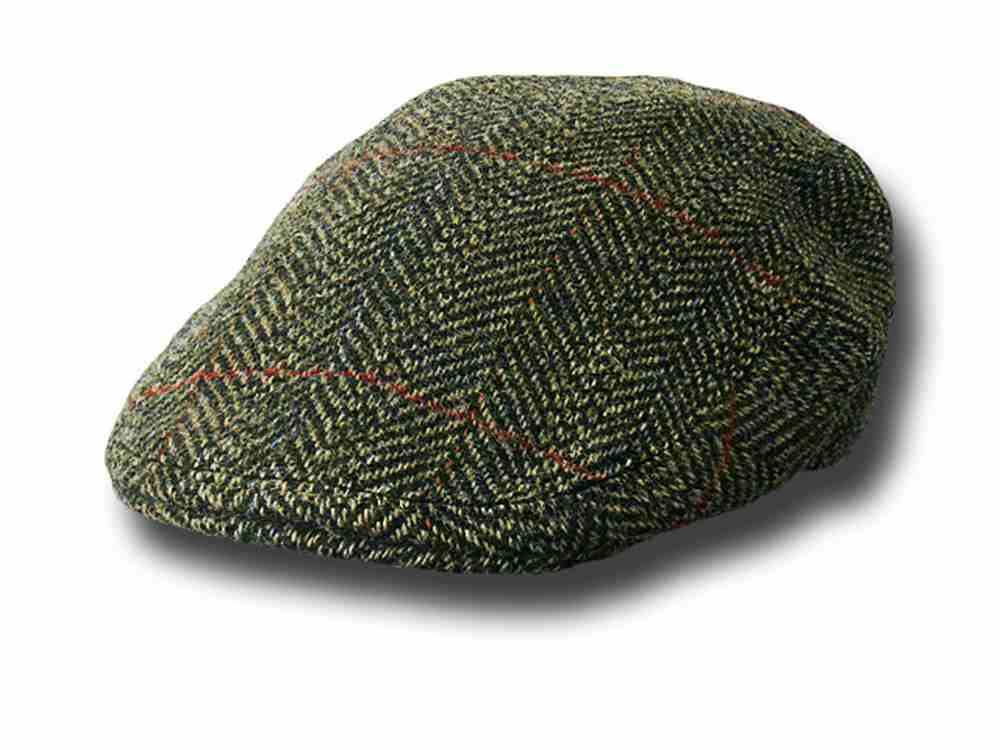 Lock & Co. Fairway Herringbone FlatCap Dunkelg