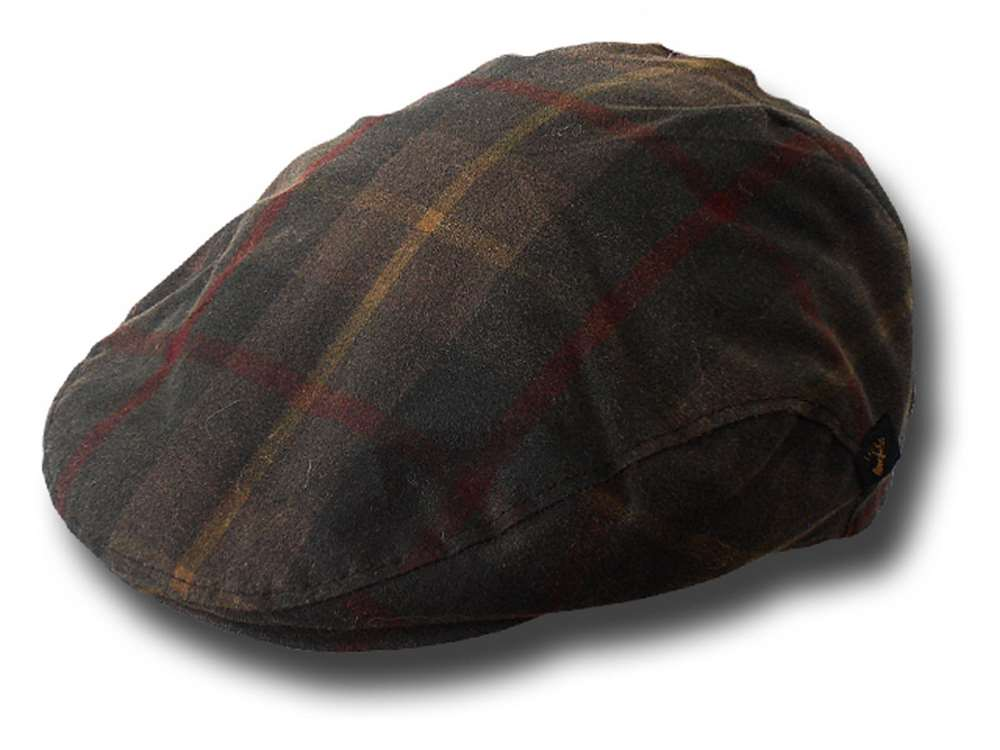 Waterproof Irish Mucros wax flat cap Tartan