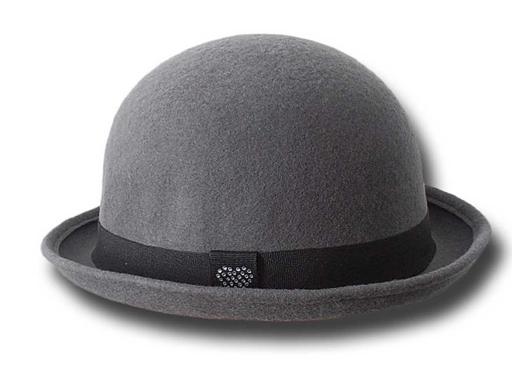 Bowler hat soft wool felt low crown with littl