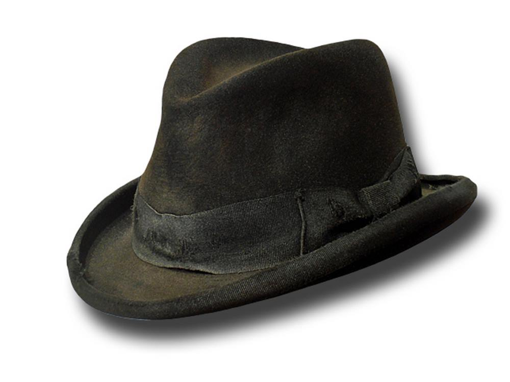 Western Dusty Aged Homburg hat Fur Felt Black