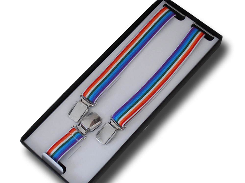 Braces man woman tight 2.5 cm Rainbow striped