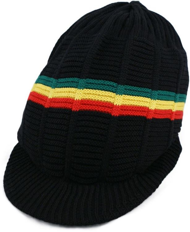 Pan African Large Knitted Peaked Rasta Hat