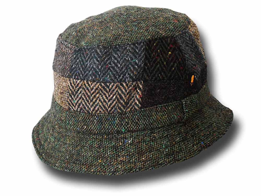 Chapeau en tweed Bucket patchwork Hatman of Ir