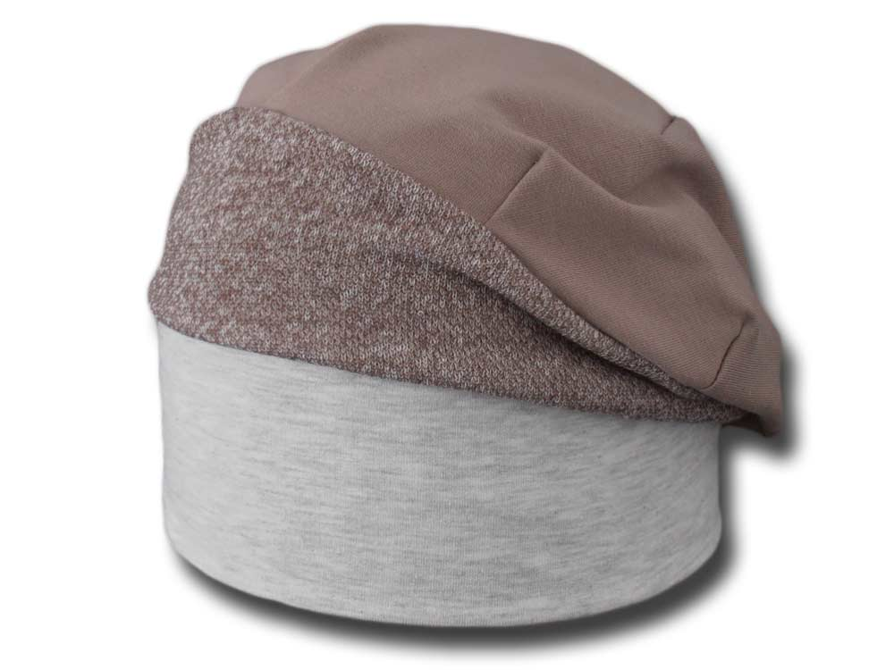 Summer bicolored Jersey cotton woman hat Beige