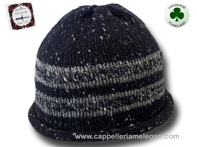 Beanie natural Irish Donegal yarn striped 03