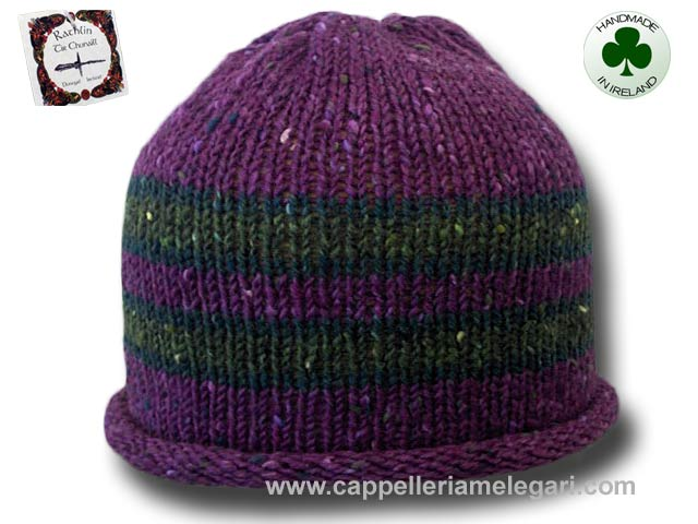 Beanie natural Irish Donegal yarn striped 04
