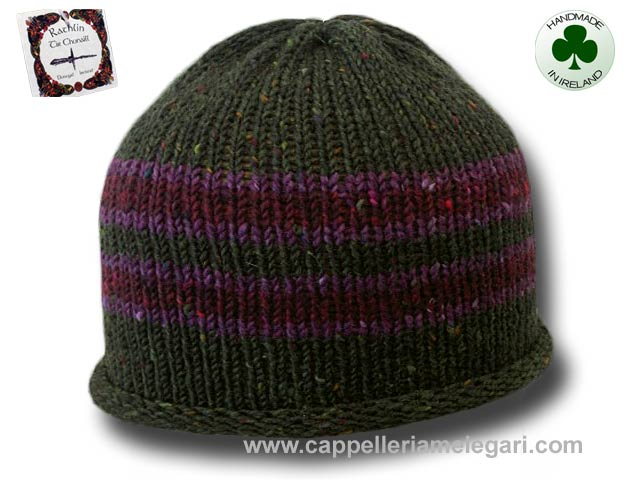 Beanie natural Irish Donegal yarn striped 05