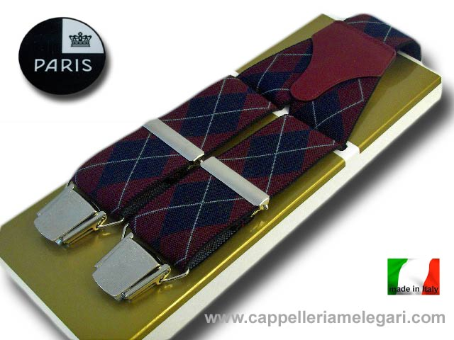 Suspenders wide men Paris rhombus Dark red