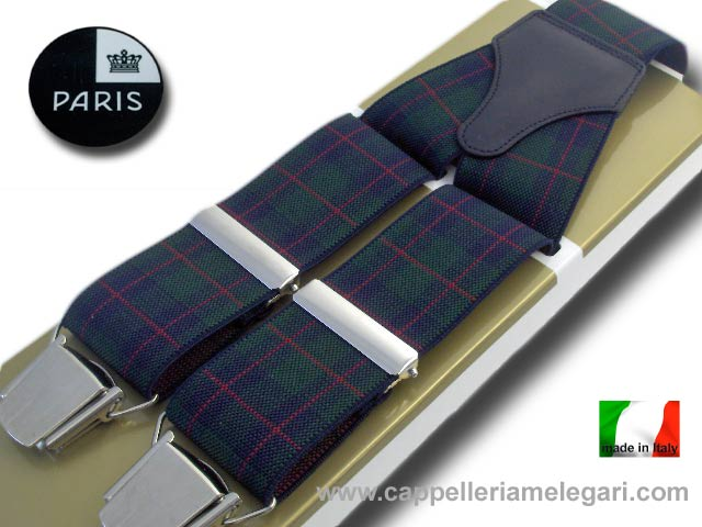 Paris Suspenders wide men Scottish Fantasy green