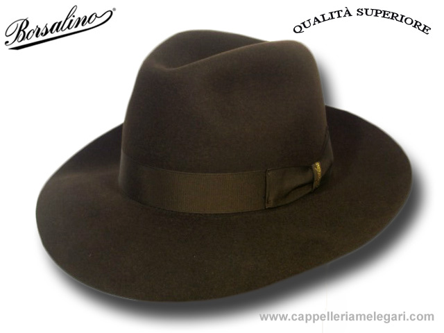 Borsalino Fedora Hat Superior Quality brim 7,5 cm Brown