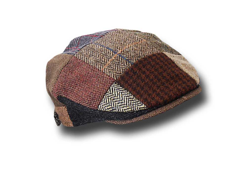 Berretto piatto tweed irlandese patchwork bamb