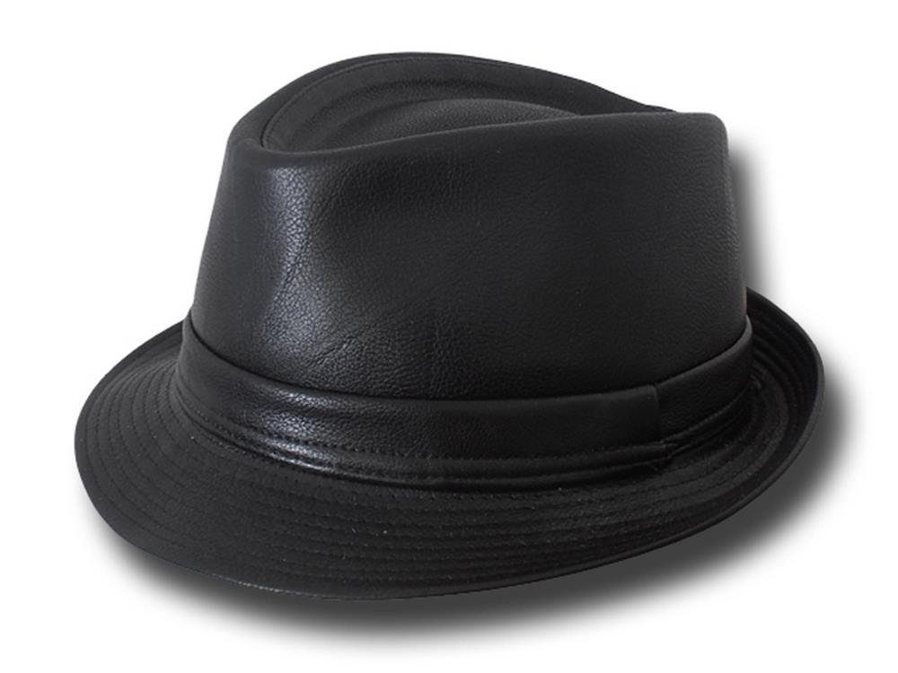 Italian traditional trilby Melegari faux leather Hat