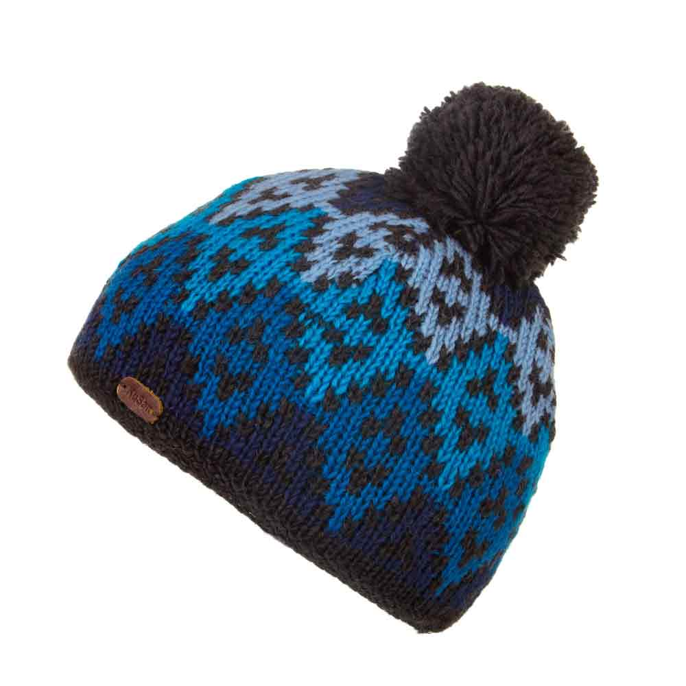 Kusan London Beanie Big Diamond Bobble wool ha