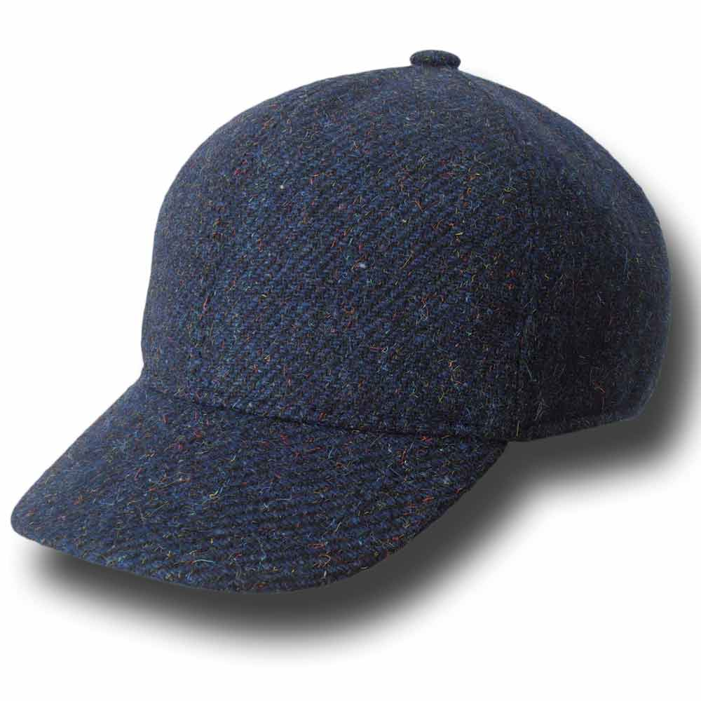 Melegari Berretto baseball lana tweed Roma Blu