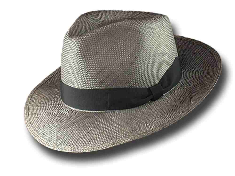 Summer Hat Fedora Straw brim 6.5 cm Dark gray
