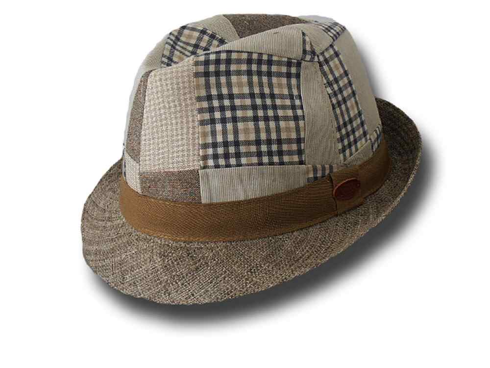 Cappello Trilby patchwork raffia Royal