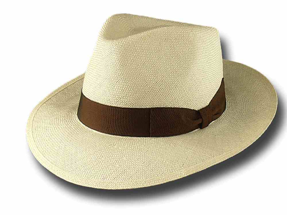 Summer Hat Fedora Straw brim 6.5 cm Natural wh