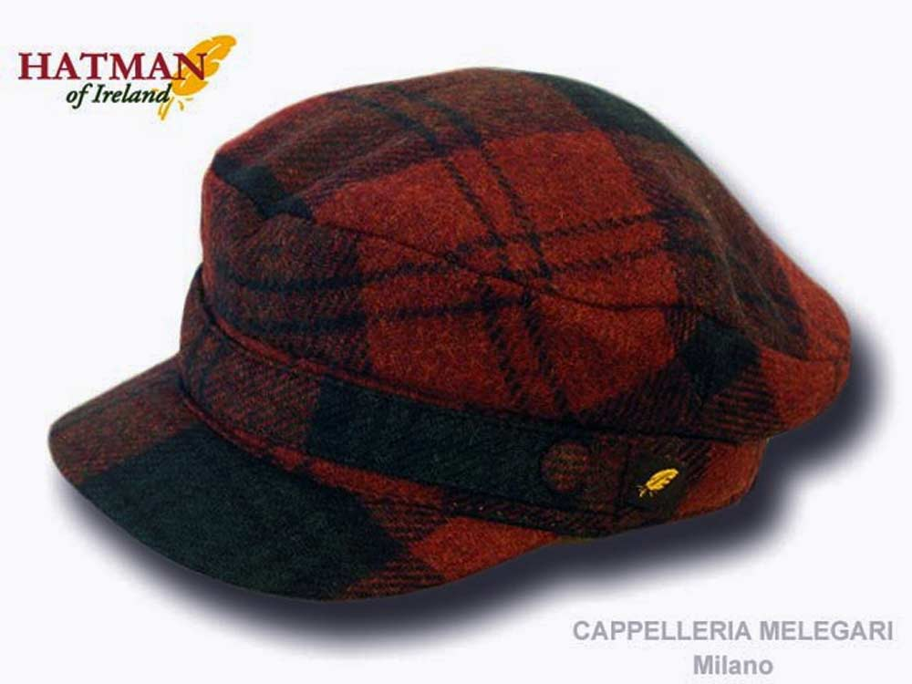 Hatman of Ireland Irish tartan tweed skipper cap Dark red