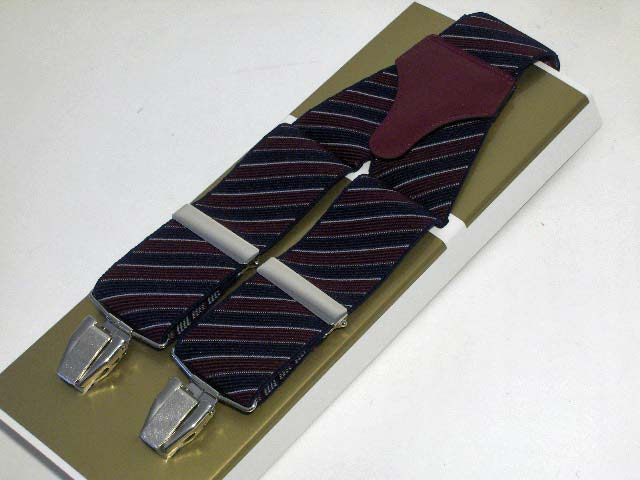 Suspenders wide men Paris stripe two-tone Dark