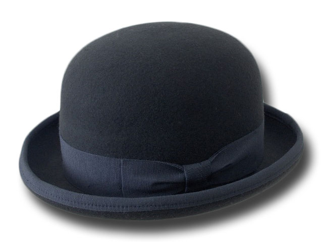 Dark gray wool felt bowler hat