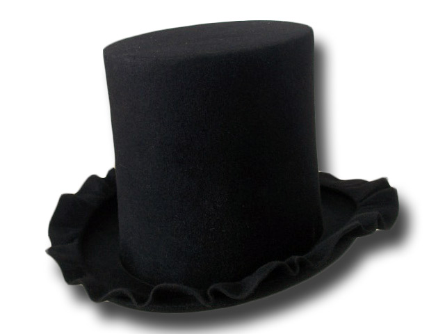 Artistic Top Hat 19 cm hight rabbit fur felt