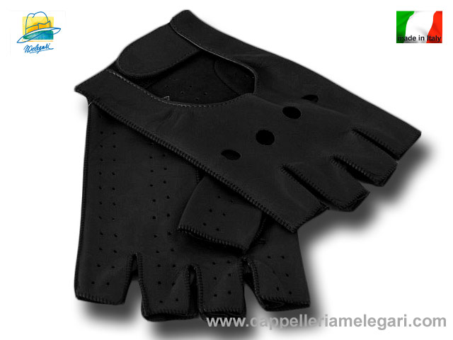 Driving Gloves half finger leather Melegari Bl