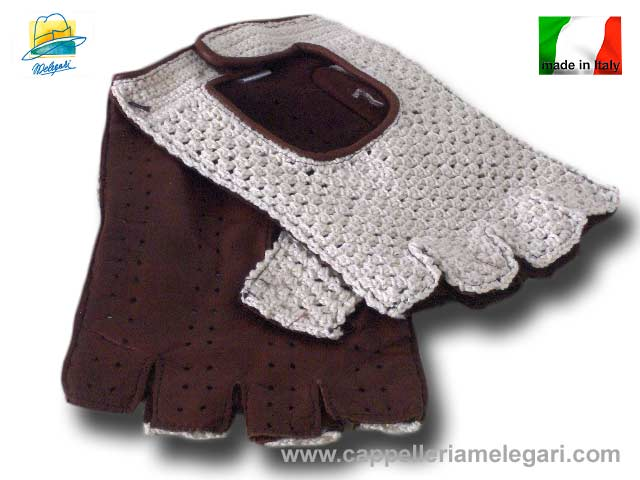 Driving Gloves half finger leather Melegari