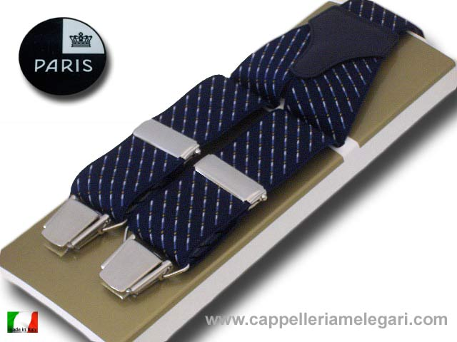 Paris Braces large de Homme fantasie ligne point bleu
