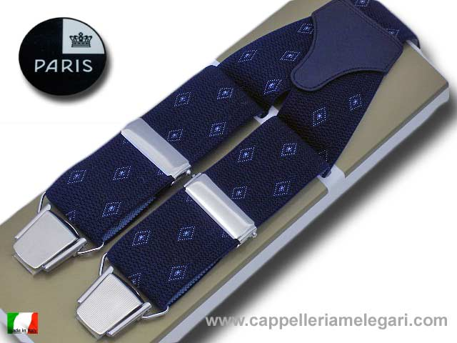 Suspenders wide men Paris little rhombus Blue