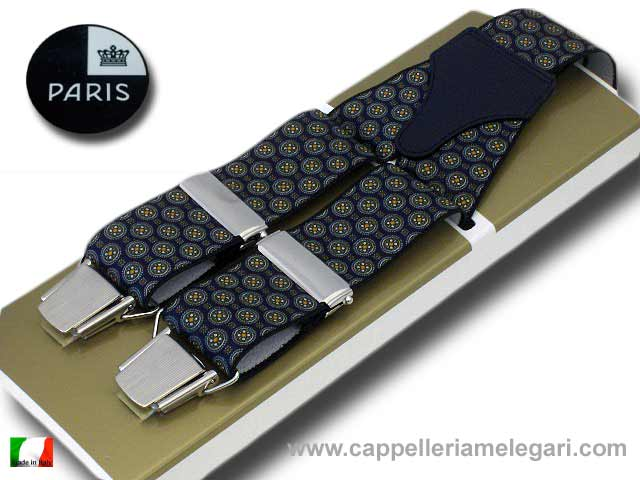 Paris Braces wide men's Flowers Blue