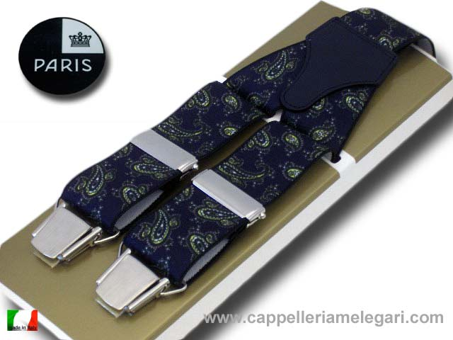 Paris Braces large de Homme Jacquard Bleu