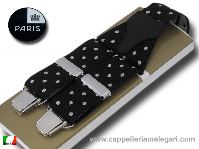 Braces wide men's Paris Dots White