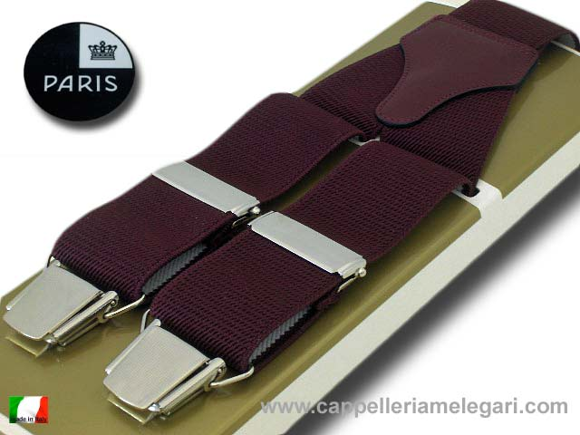Suspenders wide men Paris Dark red