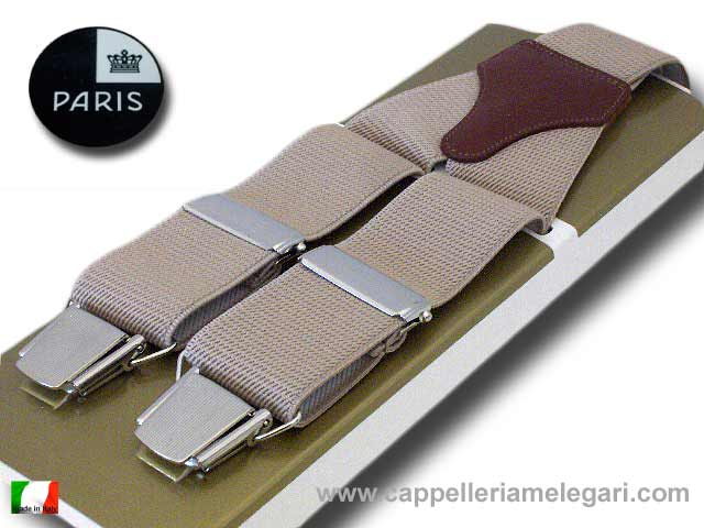 Suspenders wide men's Paris Beige