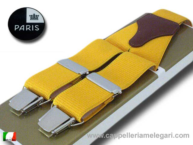 Suspenders wide men Paris Yellow