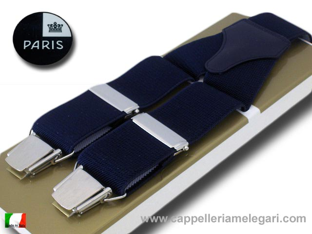 Suspenders wide men Paris Blue