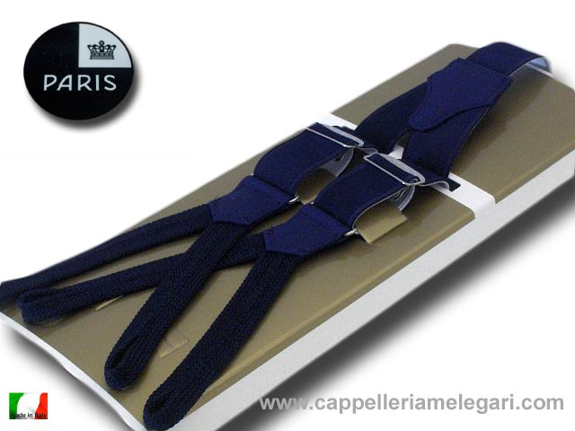 Braces man with slots tight satin Paris blue