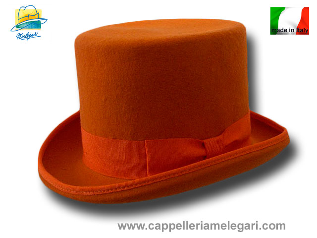Orange Wool Felt Top Hat