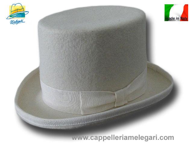 Cappello a cilindro bianco in feltro di lana  cilindro-bianco  59.00 ... 6209b6ee334a