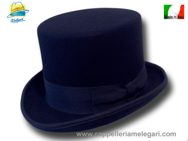 Navy Wool Felt Top Hat