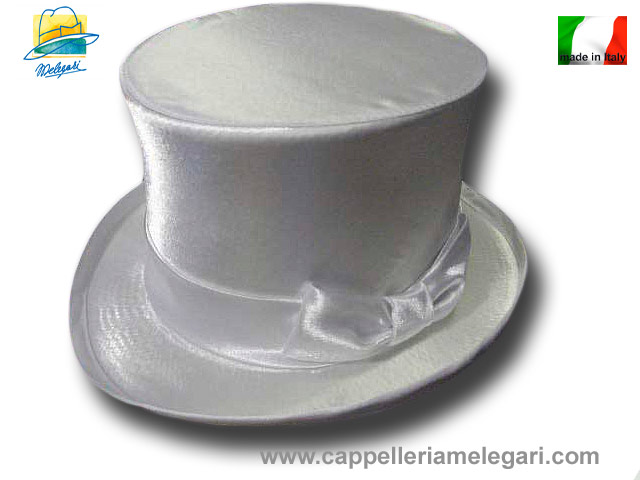 Cappello a cilindro raso top quality bianco sp c8bc2fee1196